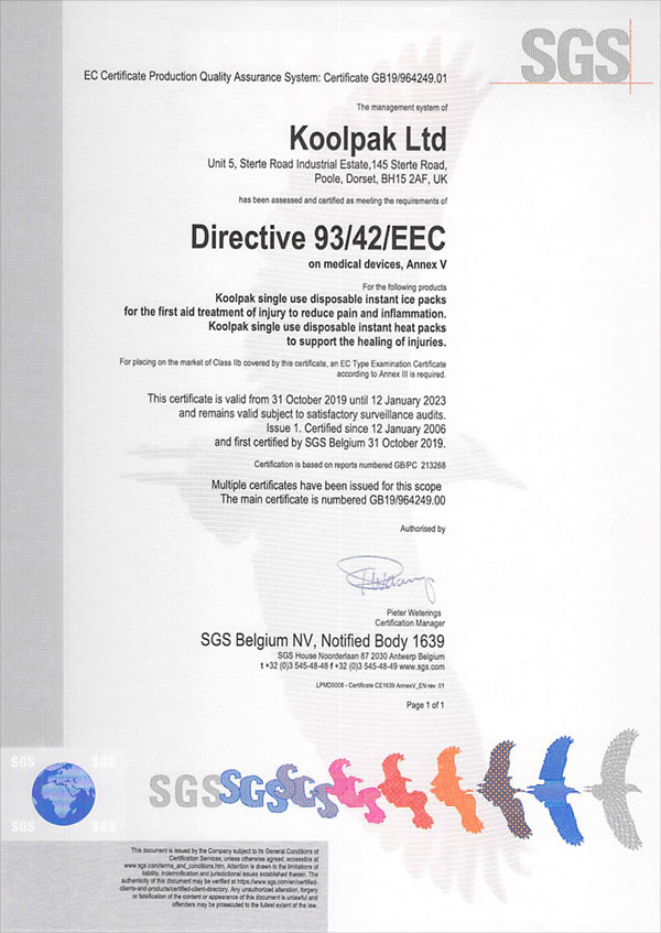 Koolpak Ltd 93 EEC Certificate
