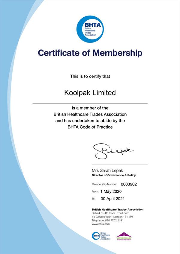 Koolpak BHTA certificate